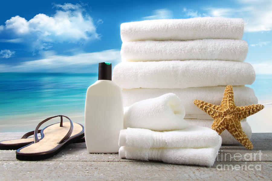 Lotion  Towels And Sandals With Ocean Scene Photograph  - Lotion  Towels And Sandals With Ocean Scene Fine Art Print