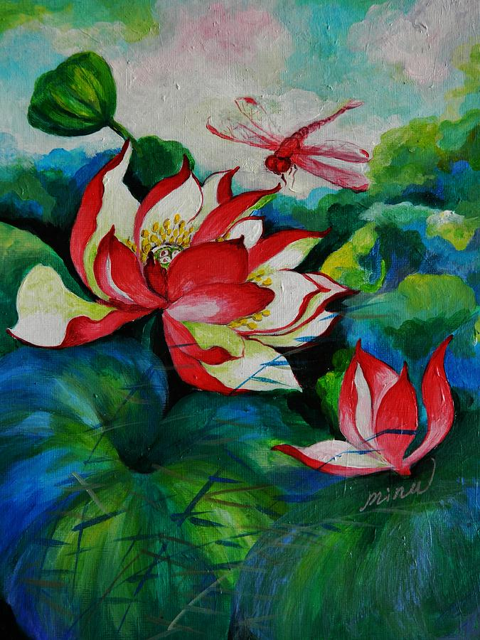 Lotus Dragon Fly A Painting  - Lotus Dragon Fly A Fine Art Print