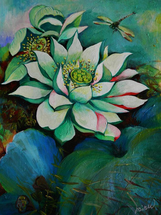 Lotus Dragon Fly C Painting