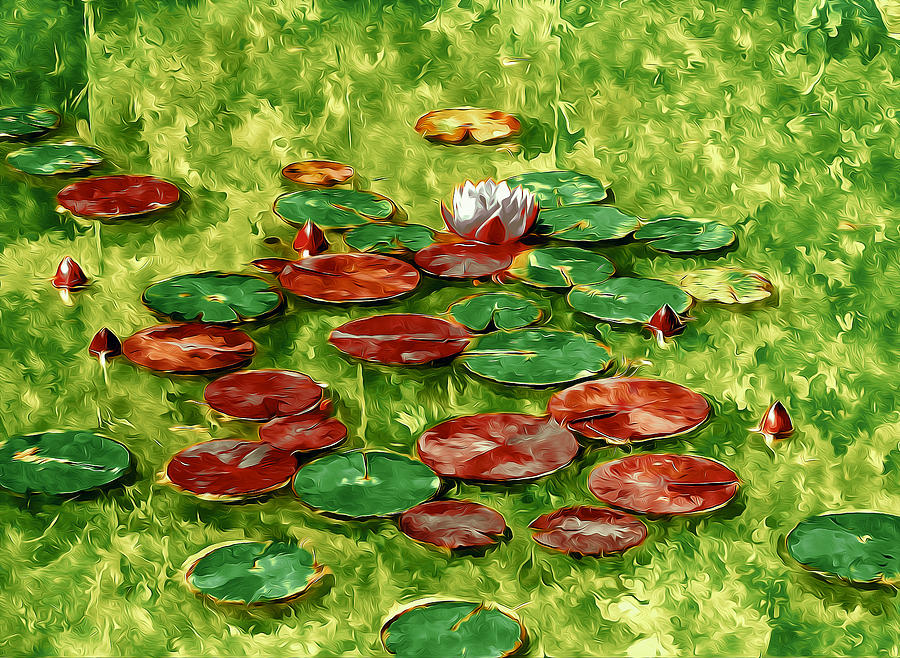 Lotus Flower On The Water 2 Painting  - Lotus Flower On The Water 2 Fine Art Print