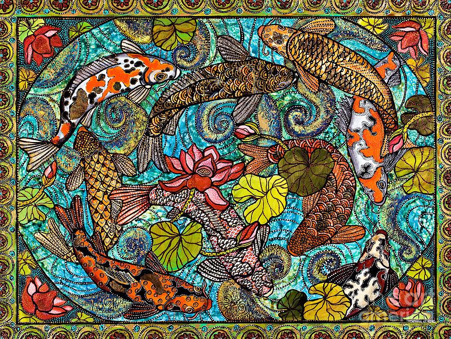 Lotus koi pond painting by melissa cole for Koi fish pond lotus
