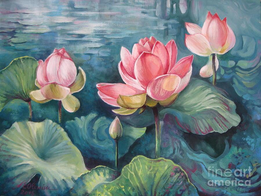 Lotus Pond Painting By Elena Oleniuc