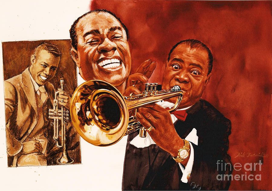 Music Painting - Louis Armstrong by Dick Bobnick