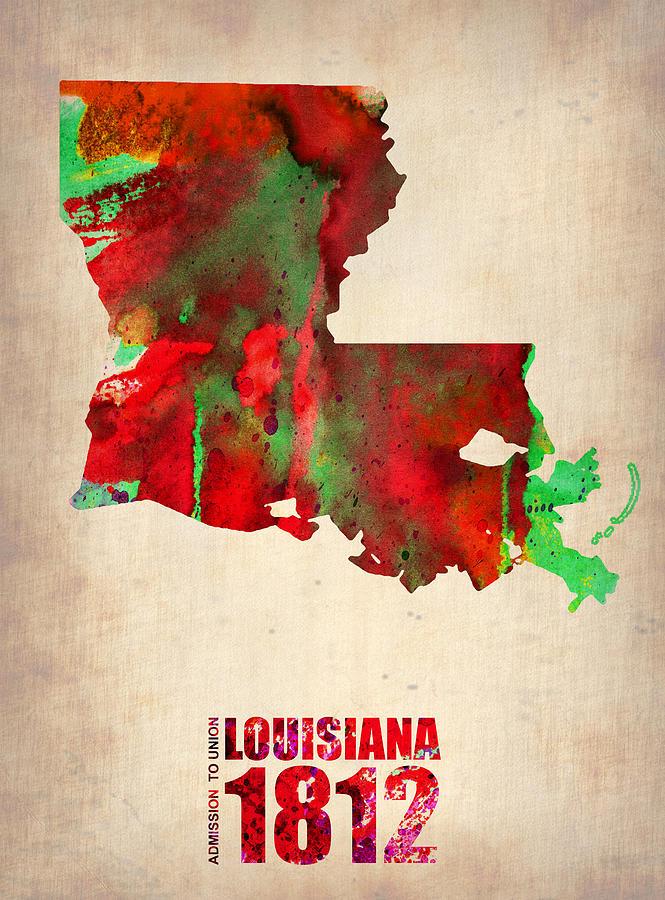 Louisiana Watercolor Map Digital Art