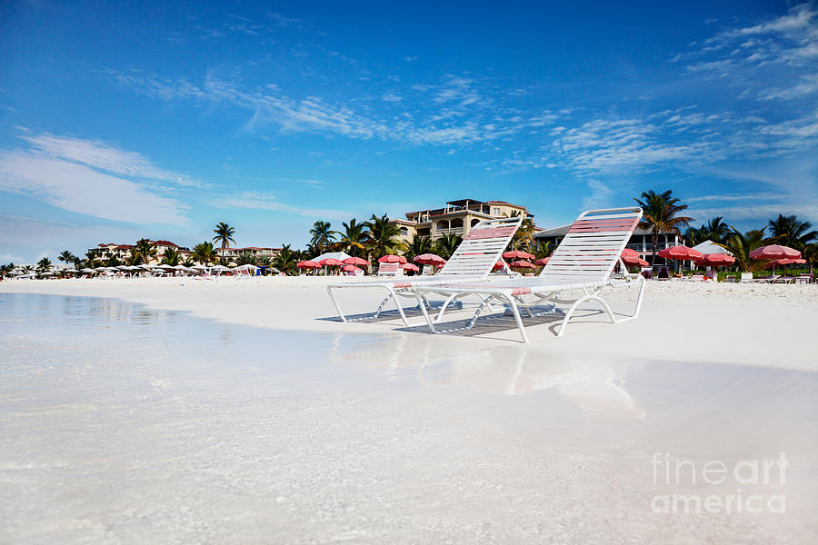 Lounge Chairs On Grace Bay Beach Photograph