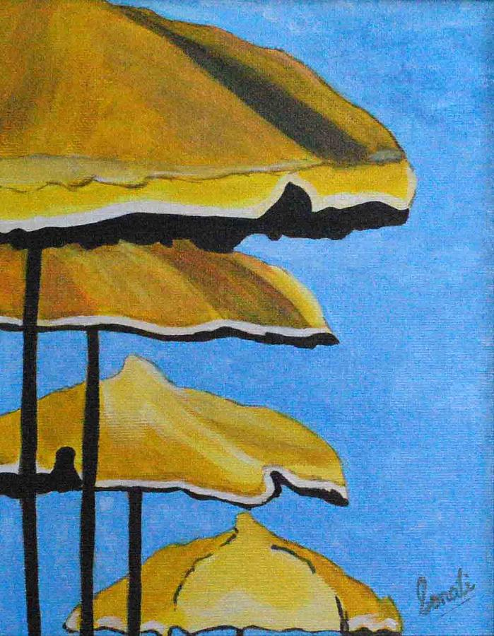 Lounging Under The Umbrellas On A Bright Sunny Day Painting