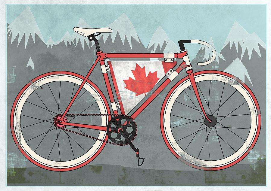 Canada Digital Art - Love Canada Bike by Andy Scullion