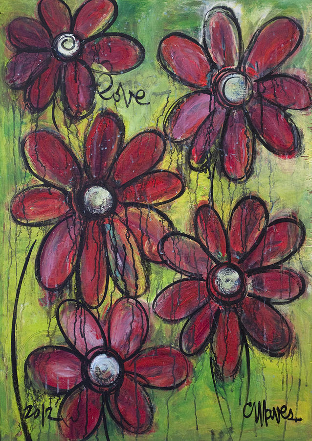 Daisies Painting - Love For Five Daisies by Laurie Maves ART