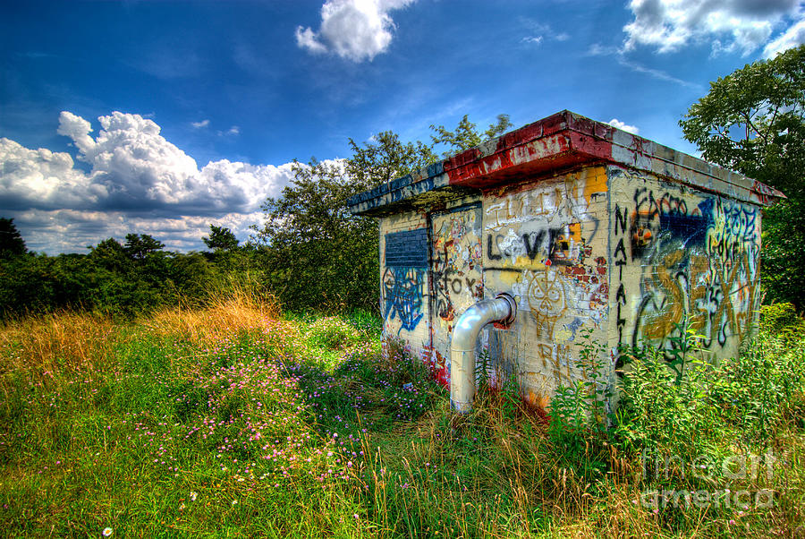 Love Graffiti Covered Building In Field Photograph  - Love Graffiti Covered Building In Field Fine Art Print
