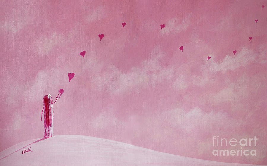 Pink Art Painting - Love Is The Best Forever Gift Collection By Shawna Erback by Shawna Erback