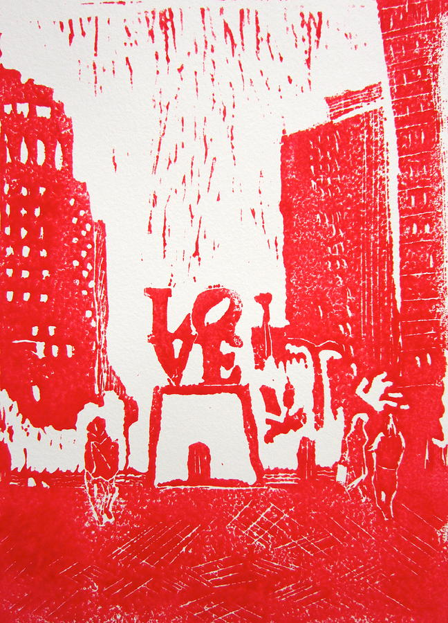 Love Park In Red Painting  - Love Park In Red Fine Art Print