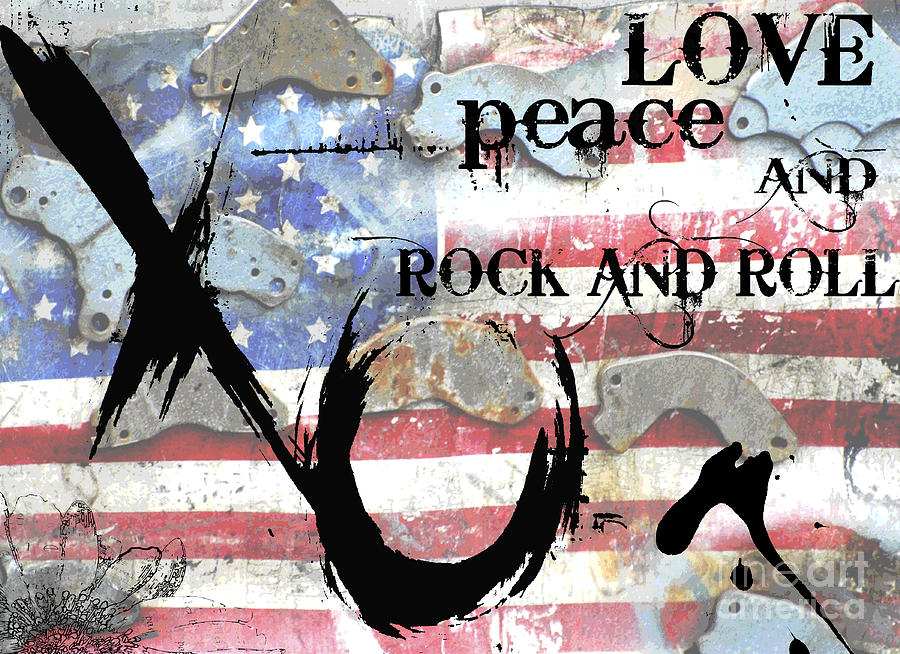 Love Peace And Rock And Roll Digital Art  - Love Peace And Rock And Roll Fine Art Print