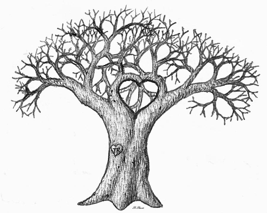 Love Heart Tree Drawing Sketch Coloring Page