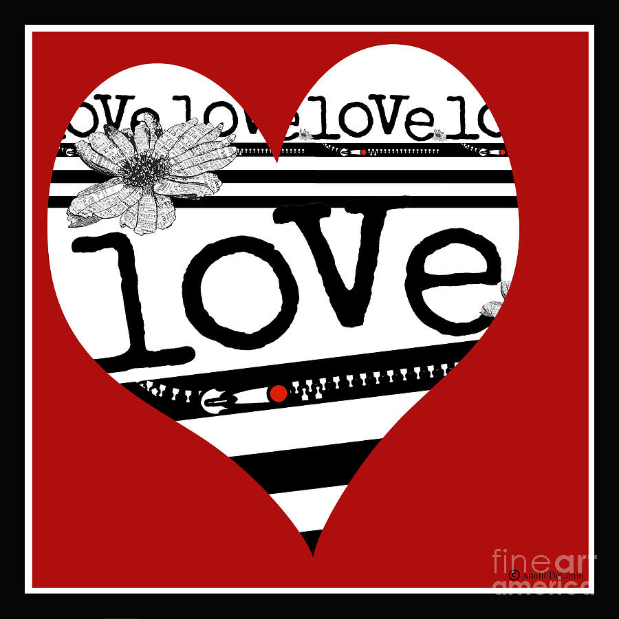 Love Typography Heart Digital Art  - Love Typography Heart Fine Art Print