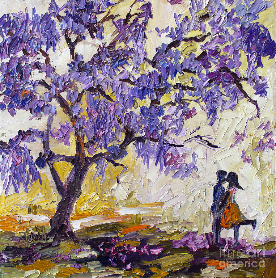 Love Under The Jacaranda Tree Painting  - Love Under The Jacaranda Tree Fine Art Print