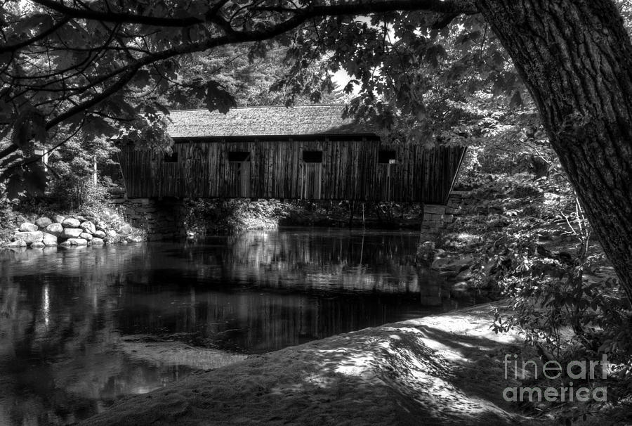 Lovejoy Covered Bridge 2bw Photograph  - Lovejoy Covered Bridge 2bw Fine Art Print