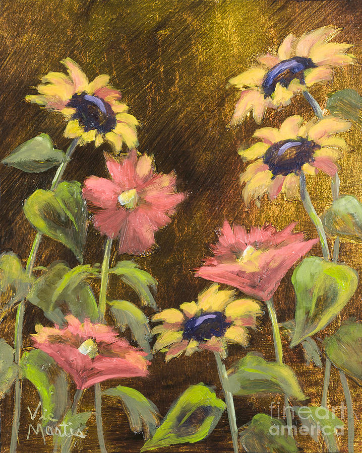 Lovely Sunflower Gardenwith Gold Leaf By Vic Mastis Painting