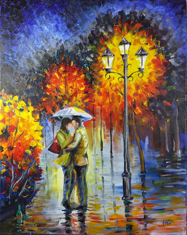 Lovers In The Rain Painting  - Lovers In The Rain Fine Art Print