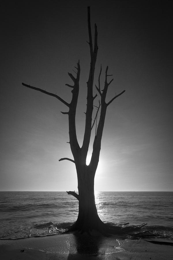 Lovers Key Sunset Black And White Two Photograph