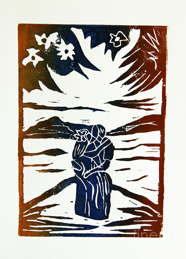 Lovers - Lino Cut A La Gauguin Mixed Media  - Lovers - Lino Cut A La Gauguin Fine Art Print
