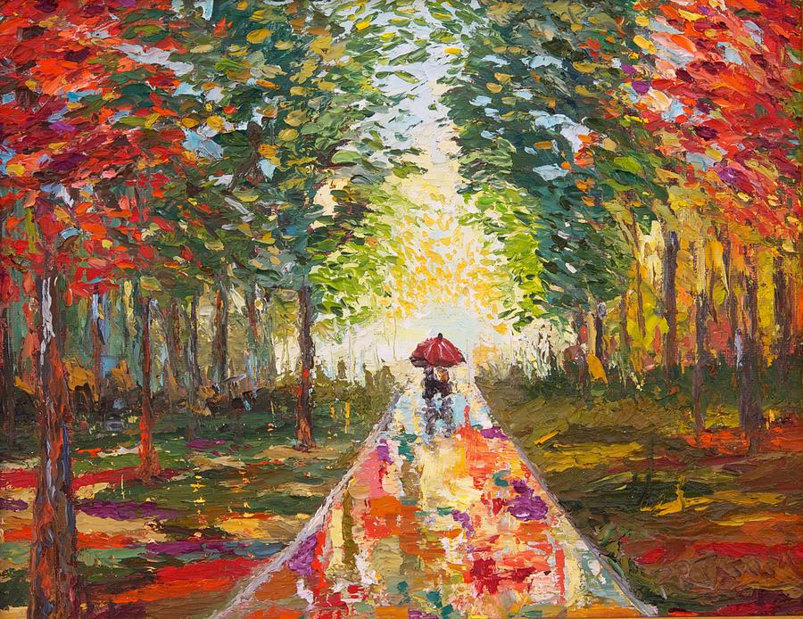 Lovers Walk In Autumn Rain Painting by Pamela Ramey Tatum