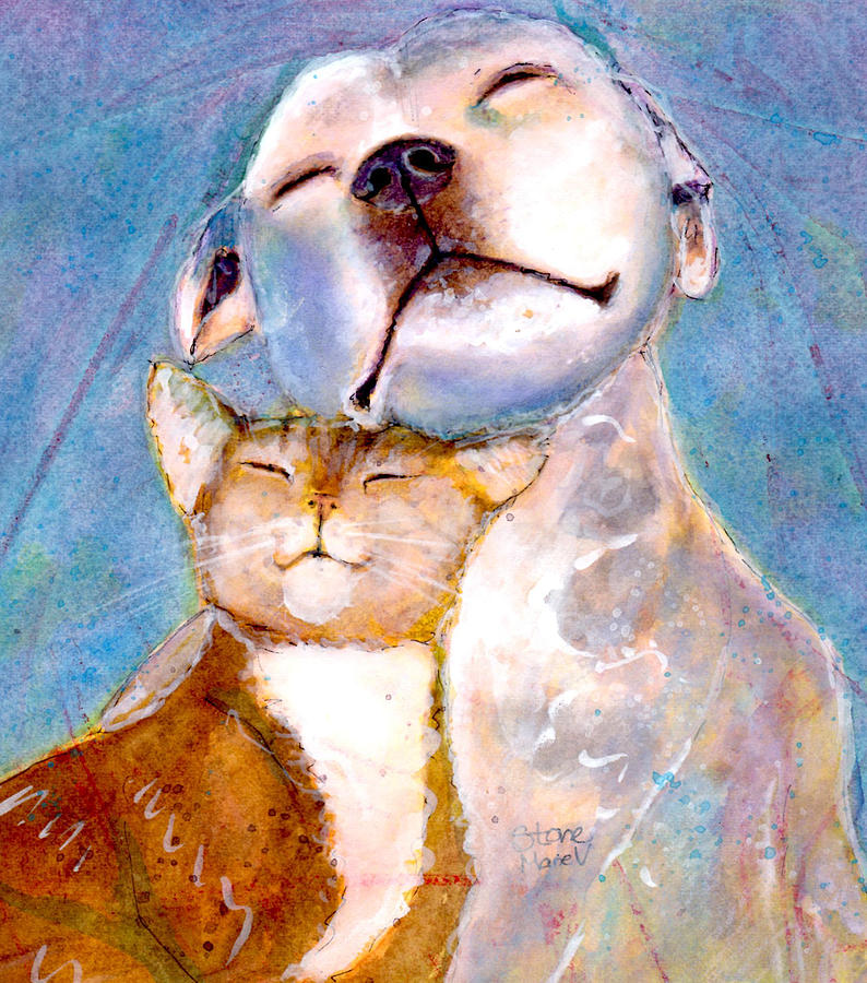 Pit Bull Painting - Lovey Dovey by Marie Stone Van Vuuren