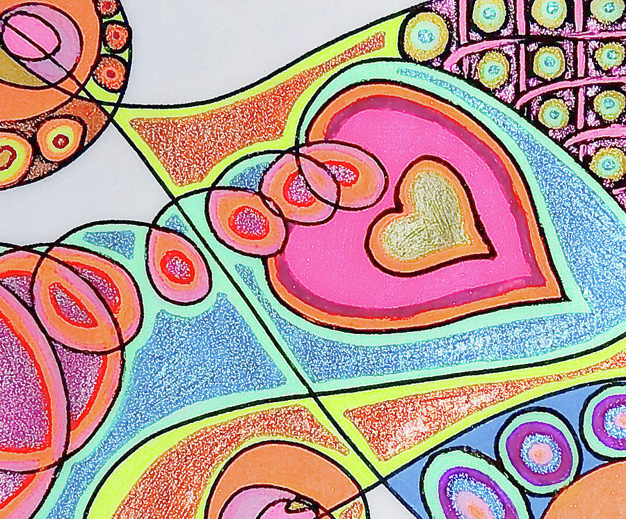 Loving Heart Connection Drawing  - Loving Heart Connection Fine Art Print
