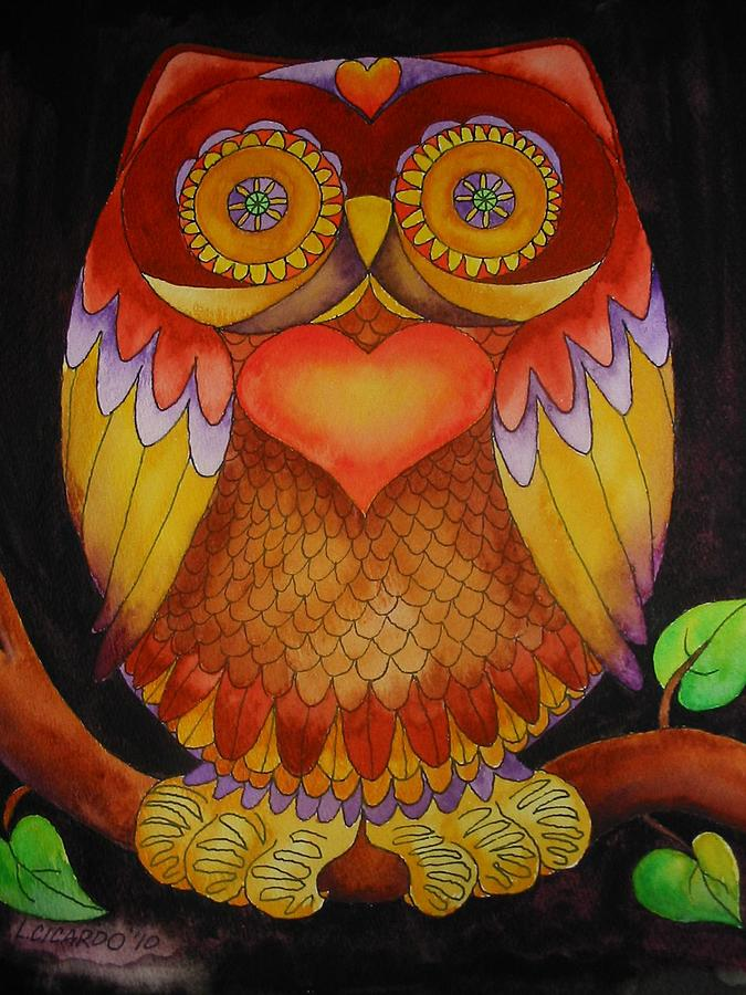 Sweet Painting - Loving Owl by Lou Cicardo