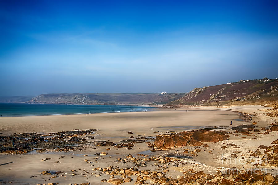 Sennen Cove Canvas Photograph - Low Tide At Sennen Cove by Chris Thaxter