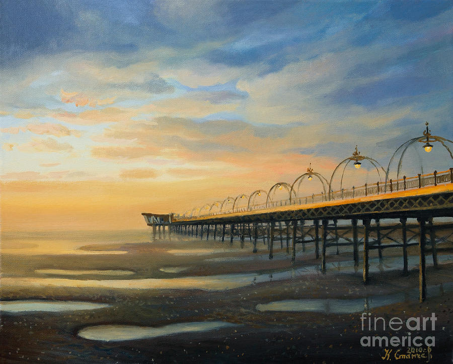Low Tide In Southport Painting  - Low Tide In Southport Fine Art Print