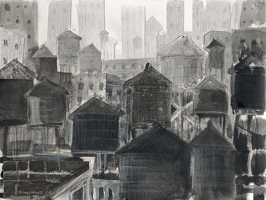Lower Manhattan Drawing  - Lower Manhattan Fine Art Print