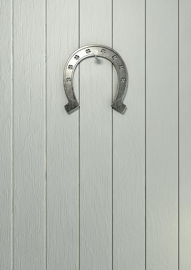 Luck Digital Art - Lucky Horseshoe On Wood by Allan Swart