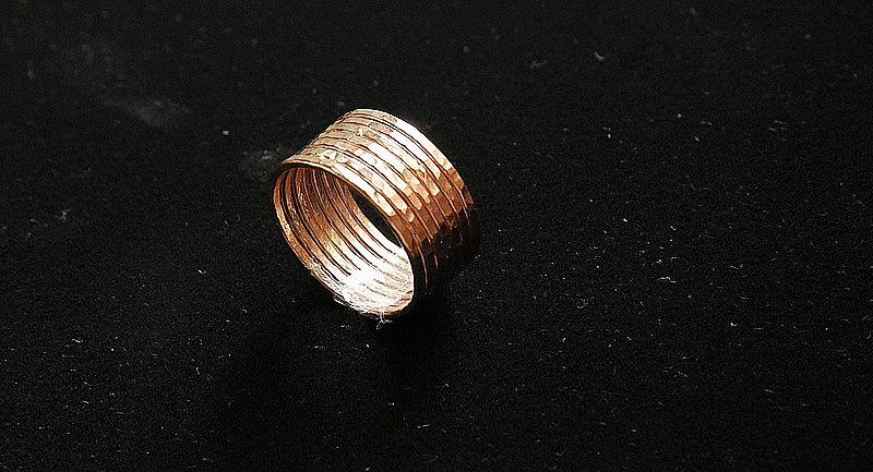 Lucky Number 7 Set Of 14k Rose Gold Filled Handmade Hammered Stackable Rings Wedding Bands Jewelry