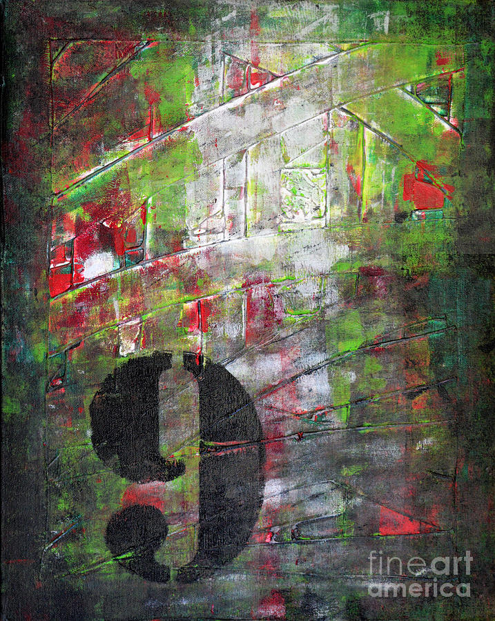 Lucky Number 9 Green Red Grey Black Abstract By Chakramoon Painting