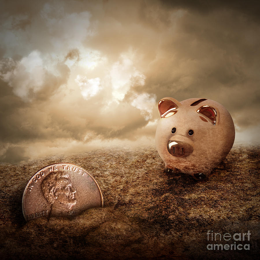 Lucky Piggy Bank Finds Lost Penny In Dirt Photograph  - Lucky Piggy Bank Finds Lost Penny In Dirt Fine Art Print