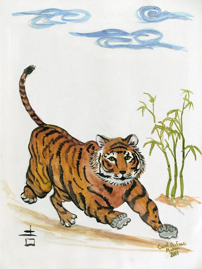 Tiger Painting - Lucky Tiger by Carol Oufnac Mahan