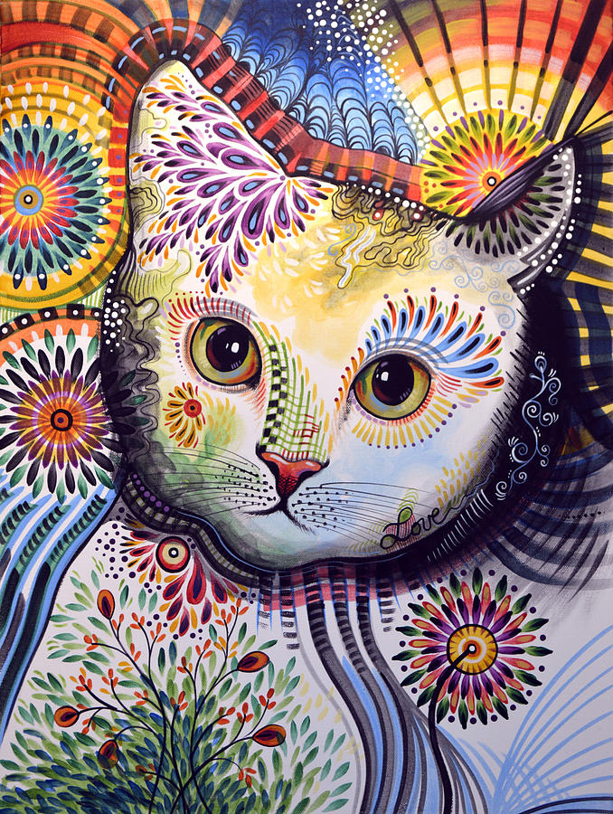 Lucy abstract cat art painting by amy giacomelli for Cat paintings on canvas