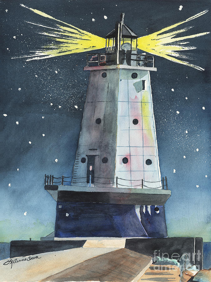 Ludington Lighthouse Painting  - Ludington Lighthouse Fine Art Print