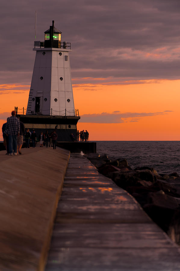 Ludington Pier And Lighthouse Photograph