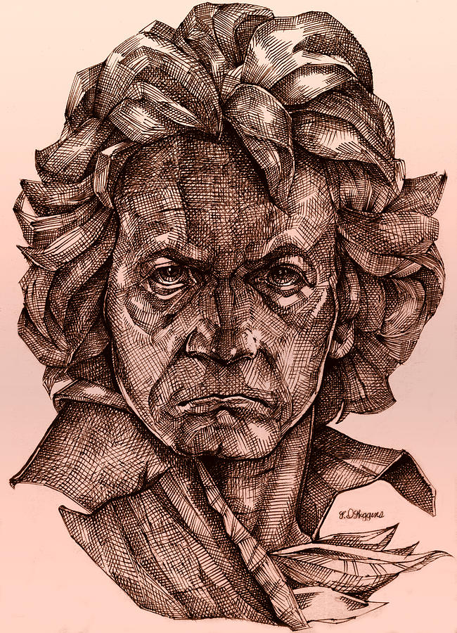 Beethoven Drawing - Ludwig Van Beethoven by Derrick Higgins