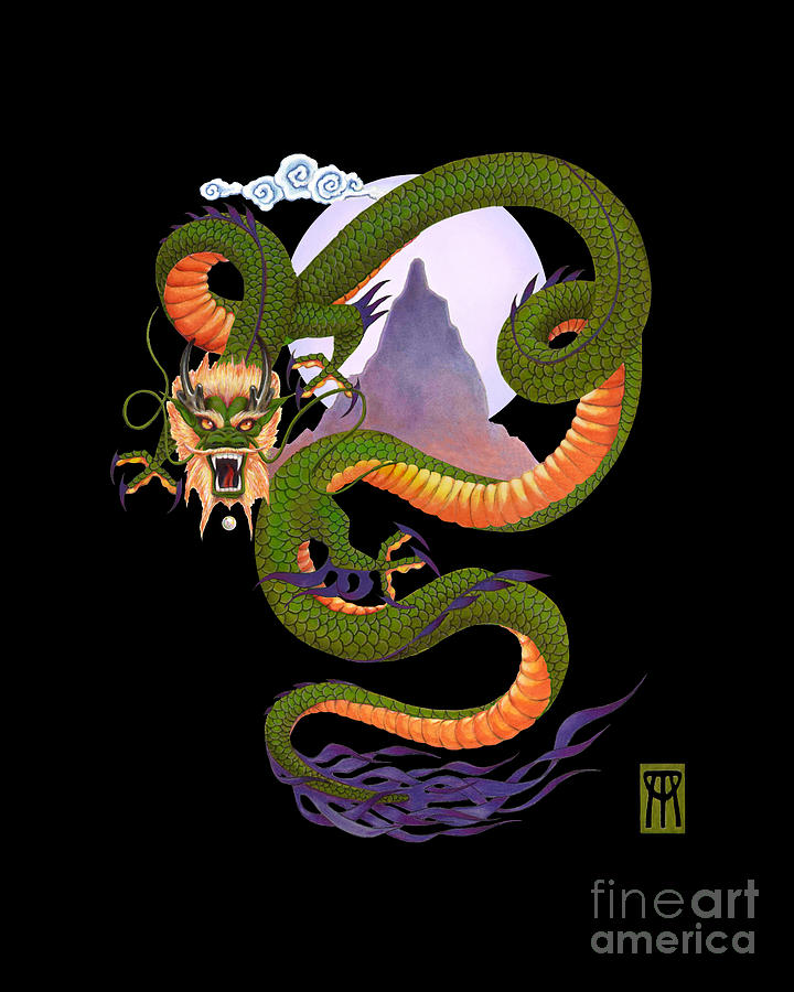 Lunar Chinese Dragon On Black Digital Art
