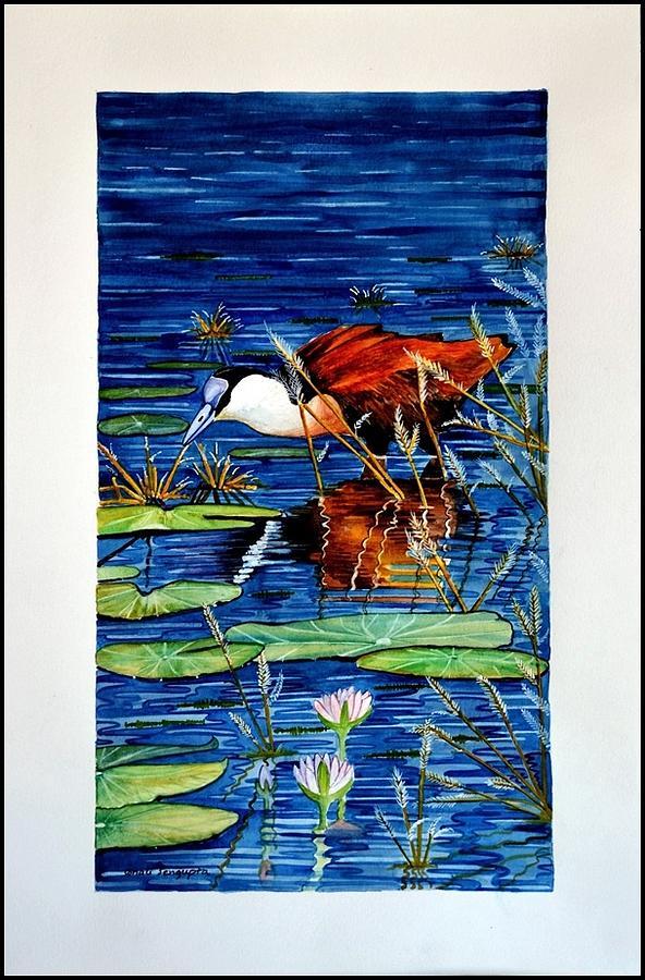 Bird Painting - Lunch Break by Sonali Sengupta