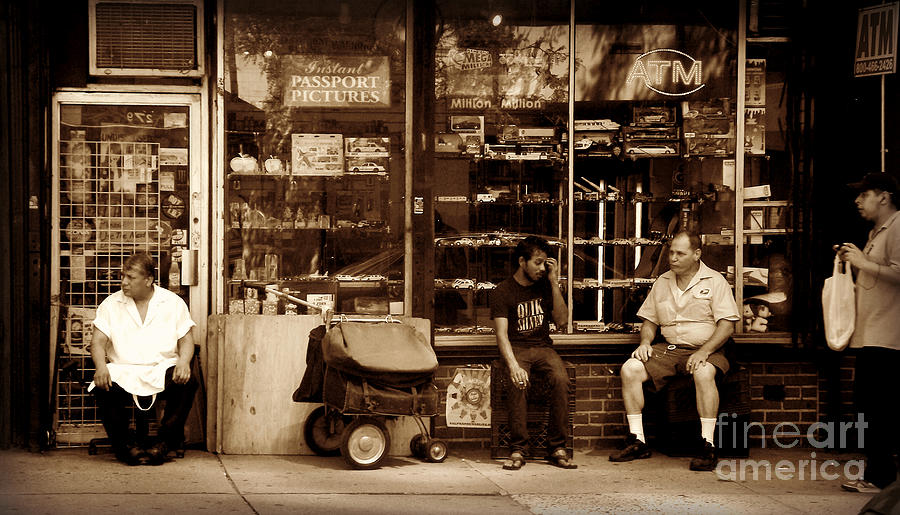 Lunch Break - Street Scene In Sepia Photograph  - Lunch Break - Street Scene In Sepia Fine Art Print