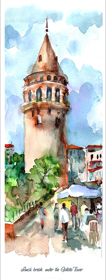 Lunch Break Under The Galata Tower Painting