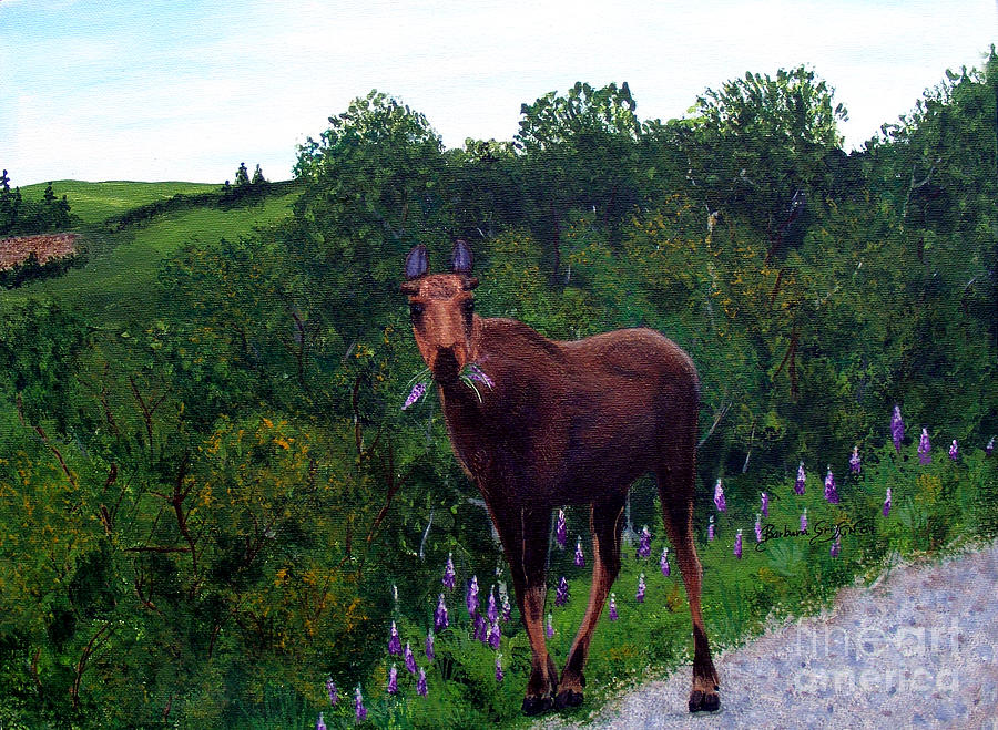 Lupine Loving Moose Painting
