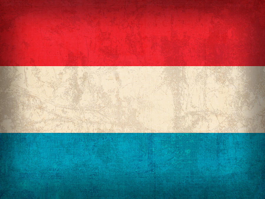 Luxembourg Flag Vintage Distressed Finish Mixed Media By