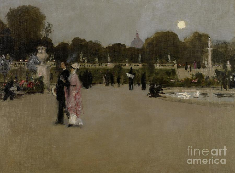 Luxembourg Gardens At Twilight Painting
