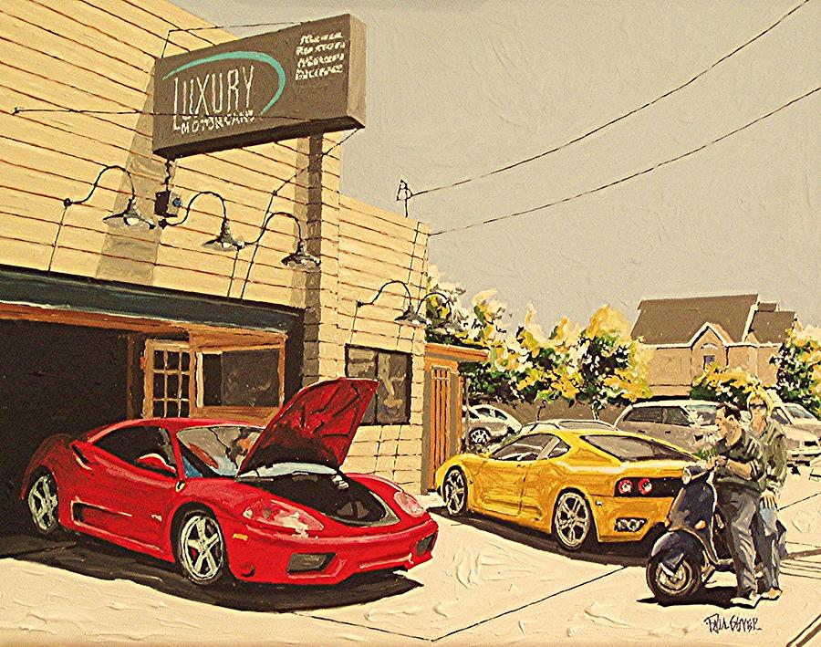 Luxury Motor Cars Painting By Paul Guyer
