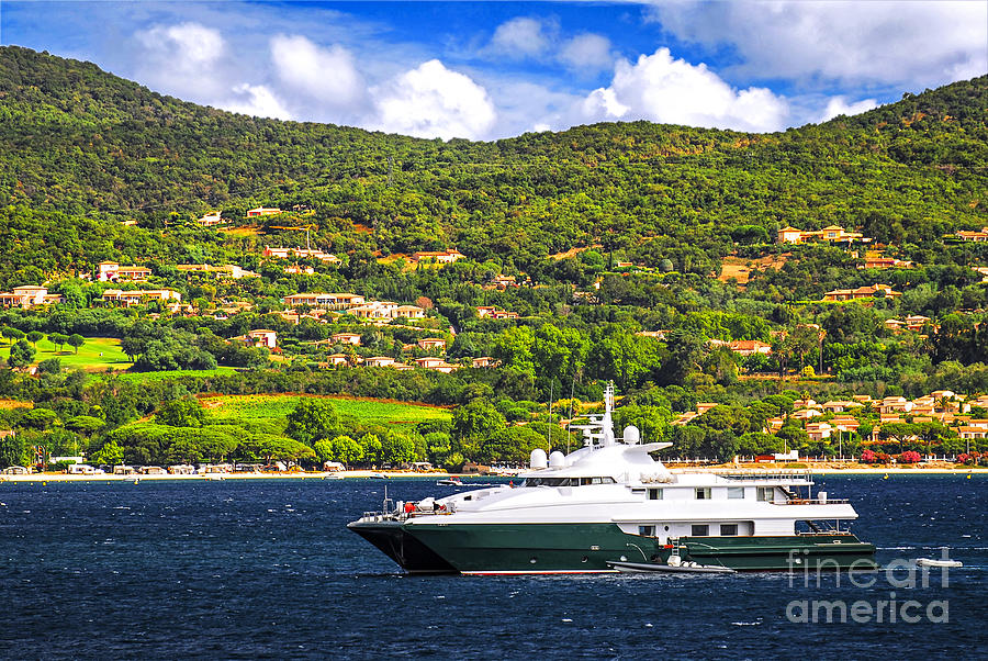 Luxury Yacht At The Coast Of French Riviera Photograph  - Luxury Yacht At The Coast Of French Riviera Fine Art Print