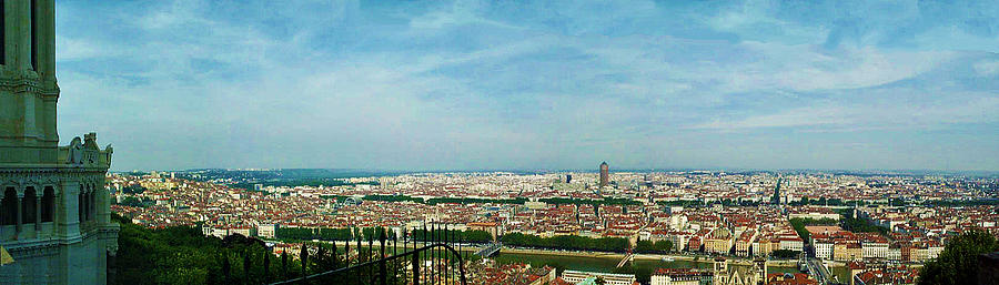 Lyon From The Basilique De Fourviere-color Photograph